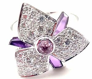 Cartier Caresse D'orchidées Orchid Flower 18k White Gold Diamond Amethyst Ring