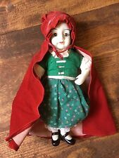 Little Red Riding Hood Porcelain Doll Music Box-Green Dress & Red Cape
