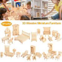 34Pcs Mini 3D Wooden Puzzle DIY Miniature Dollhouse Furniture Doll DIY Gift US