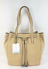 Calvin Klein Nwt $278 Satchel Large Drawstring Pebble Leather Tote Rudy Nude