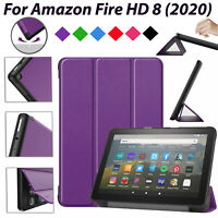 Magnetic Leather Case For Amazon Fire HD 8 (2020) Smart Shockproof Folio Cover