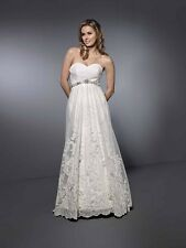 Kenneth Winston-style 1464-Size 12- Ivory- Wedding Gown-Lace,Satin, Beads (115L)