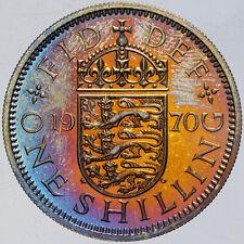 New listing 1970 Great Britain 1 Shilling Proof Color Unc Bu Monster Orange Blue Toned (Dr)