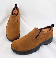 Lands End 73773 Women's 7M Slip-on Walking Loafers Brown Suede Leather COMFORT