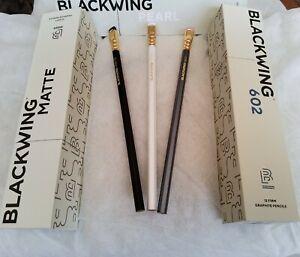 3 x Palomino Blackwing Pencils - Backwing Matte, Pearl & 602