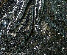 29,98 EUR/Lfm Paillettenstoff Schwarz Silber auf Netz aufgenäht Showtanz