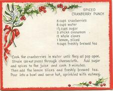 VINTAGE CHRISTMAS SPICED CRANBERRY PUNCH RECIPE 1 GINGERBREAD TEA CUP POT CARD