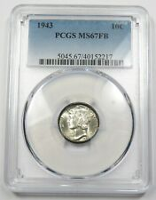 New listing 1943-P Pcgs Ms67Fb Full Bands Mercury Dime 10c Us Coin Item #27368A