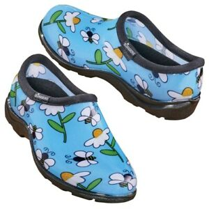 Blue Bumblebees & Daisies Print Women Sloggers Waterproof Garden Shoes