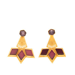 RRP €170 JUDE BENHALIM 2in1 Gold Plated Brass Earrings Resin Stones Embellished