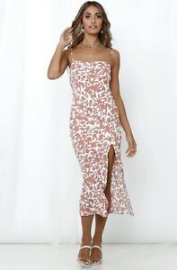 BNWT Hello Molly Clairvoyance Midi Dress Rust & White Floral Slit Side Size S/8