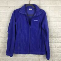 Columbia Women Soft Shell Fleece Jacket Medium Full Zip Purple Elastic Waist