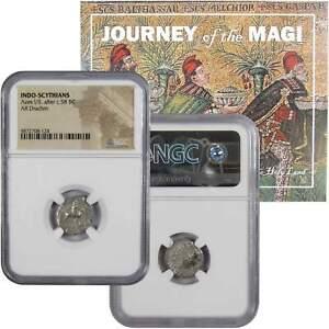 Indo-Scythians Azes I/II Silver Drachm NGC Journey of the Biblical Magi