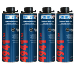 4 x DINITROL 4941 UNDERBODY CHASSIS RUST PROOFING BLACK WAX 1 LITRE - NEW LABEL