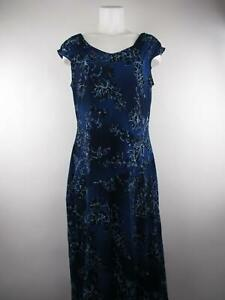 Casual Corner Women's sz XL Blue Nylon Floral Ruched Lined Maxi Dress