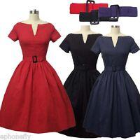 Rockabilly Vintage Swing Party Retro Style Dress Evening Women 1950 Women V Neck