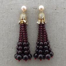 GE122214 Pink Pearl Garnet CZ Pave Earrings