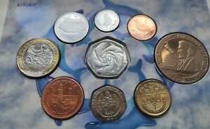 Gibraltar 1998 Brilliant Uncirculated Coin Set. RARE Dolphins 50p + Hercules £2