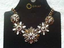 NEW OPIA YELLOW GOLD METAL WITH GEMS NECKLACE