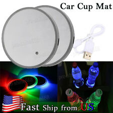 2X 70MM RGB Cup Holder Bottom Pad LED Light Cover Trim Atmosphere Lamp US STOCK