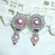 Judith Ripka Sterling Silver & Cultured Pink Mabe' Pearl Pierced Earrings ~NEW~
