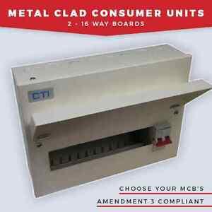 AMENDMENT 3 METAL CLAD CONSUMER UNITS 2 WAY - 16 WAY GARAGE UNIT 100A INCOMER