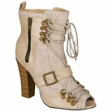 Odeon Stylist Pick 'Zoe' Women's Peeptoe Boot - Beige - 3 BRAND NEW £24.99