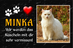 Tiergrabstein Grabstein TEXT FOTO Farbig Gedenktafel Gedenkplatte Hund Katze