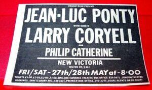 "Jean-Luc Ponty/Larry Coryell/Philip Catherine ORIG '77 Press/Mag ADVERT 3.5""x2.5"