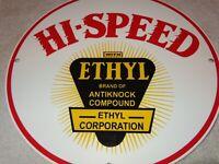 """VINTAGE """"HI-SPEED ETHYL GAS""""  11 3/4"""" PORCELAIN METAL GASOLINE & OIL SIGN! HIGH!"""