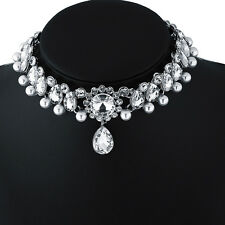 NE Fashion Charm Jewelry Full Crystal Pendant Chain Bib Chocker Necklace Wedding