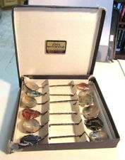1981 MONTEVIDEO URUGUAY SILVER SMITHS COIN SPOON SET WITH NATIVE STONES