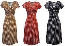 New Slinky Ladies Vtg WW2 Land girl 1940s 50s Polka Dot Pin-up Swing 534e3a756