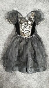 Girls Black/Gold Halloween Witch Dress Up Outfit Age 7-8 Years