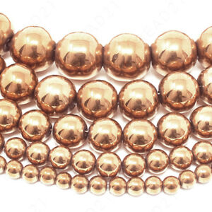 "Natural Rose Gold Hematite Beads Round 4mm 6mm 8mm 10mm 12mm 15.5"" Strand"