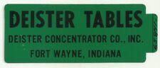 Deister Tables Fort Wayne Indiana Vintage Unused Mining Hard Hat Decal Sticker