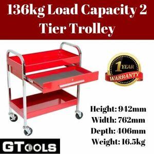 2 Tier Mechanic's Tool Cart Storage 16KG Sturdy Built Trolley Workshop Organizer