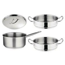 More details for vogue cook like a pro saucepan & steamer - stainless steel & tri wall - set of 3