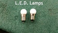 2pc. LED E10 Screw Base White Globe Lamps for Lionel Stations, Street Lamps