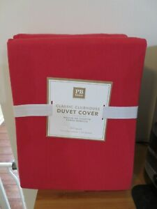 POTTERY BARN TEEN CLASSIC CLUBHOUSE FULL QUEEN DUVET COVER RED BRAND NEW