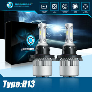 LED Headlights H13 Bulbs Kit High Low Beam 6000K White 300000LM High Power Lamps