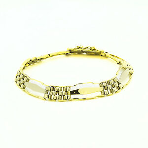 14k Yellow White Gold Fancy Link Mens Bracelet 15.4 Grams 8 Inches