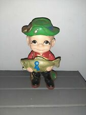 Vintage ATLANTIC MOLD CERAMIC Smiley Boy 1st Place Fish fisherman hand painted