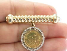 Fine Diamond Sapphire 1/10 Oz Krugerrand Coin Pin / Brooch 14Kt 1.50Ct