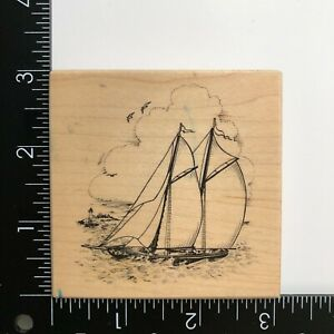 PSX Designs Ship Boat Sailboat Wood Mounted Rubber Stamp G3004 Lighthouse Ocean