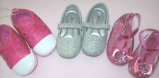 Toddler Girl Baby Shoes Size 4 Nwot Jelly Beans; Aurora & Merence Silver Glitter