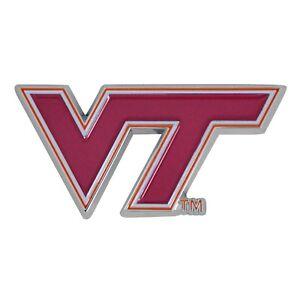 Virginia Tech VT Hokies NCAA Colored Metal Car Auto Emblem Decal Ships Fast