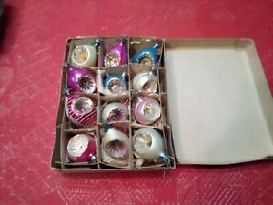 Vintage Glass Christmas Tree Ornaments Lot of 12 in Box Poland Teardrop Indent