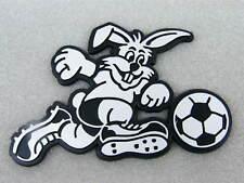 3D Aufkleber Fußball Hase silber schwarz Kaninchen Klebeschild