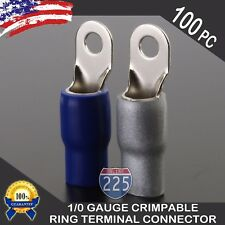 """0 Gauge Platinum Ring Terminal 100 Pack 1/0 AWG Wire Crimp Blue Silver Boot 3/8"""""""
